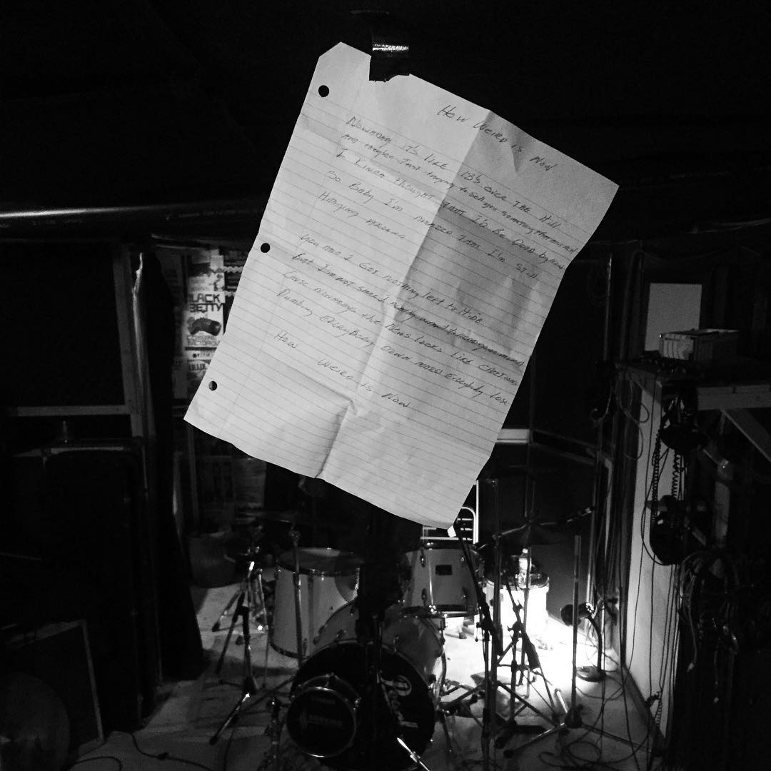 Hanging lyrics for the new single. Recording @boutiqueempire